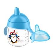 Avent Pingwinek, kubek niekapek z twardym ustnikiem, niebieski, 260 ml, 1 szt.