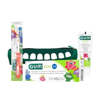 Zestaw Promocyjny Sunstar Gum Monster Kids: szczoteczka, pasta do zębów i piórnik