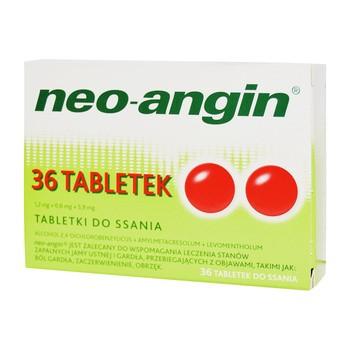 Neo-Angin, 1,2 mg+0,6 mg+5,9 mg, tabletki do ssania, 36 szt.