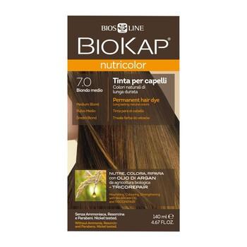 Biokap Nutricolor, farba do włosów, 7.0 średni blond, 140 ml