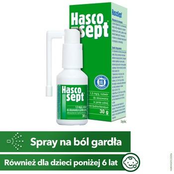 Hascosept, 1,5 mg/g, aerozol do stosowania w jamie ustnej, 30 g