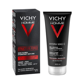 Zestaw Promocyjny Vichy Homme, przeciwzmarszczkowy krem Structure Force, 50 ml + żel pod prysznic do ciała i włosów Hydra Mag C, 200 ml + kosmetyczka GRATIS
