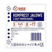 DOZ PRODUCT Kompresy jałowe z gazy bawełnianej, 17 nitkowe, 8 warstwowe, 5 x 5 cm, 3 szt.