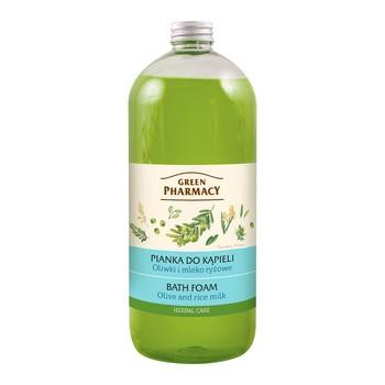 Green Pharmacy, pianka do kąpieli, oliwki i mleko ryżowe, 1000 ml