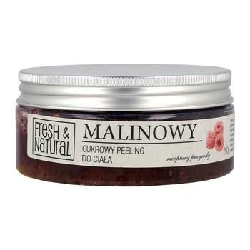 Fresh&Natural, cukrowy peeling do ciała, malinowy, 250 g